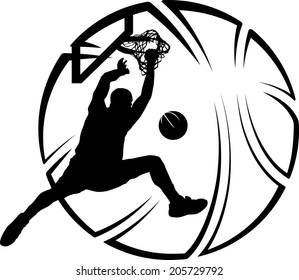 Silhouette of basketball dunk with a stylized basketball.