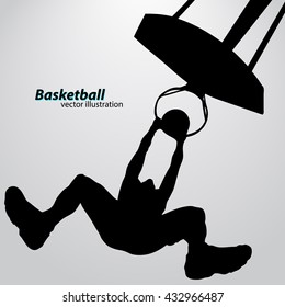 Silhouette of a basketball player. Background and text on a separate layer, color can be changed in one click. Basketball player