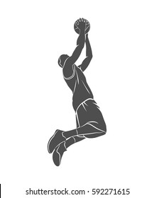 Silhouette basketball player with ball on a white background. Vector illustration.
