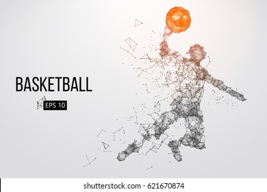Silhouette of a basketball player. Dots, lines, triangles, text, color effects and background on a separate layers, color can be changed in one click. Vector illustration
