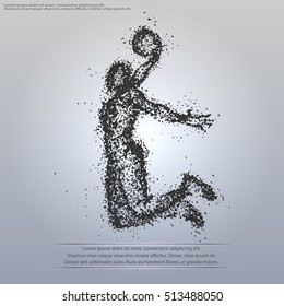silhouette of a basketball player particle composition
