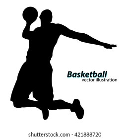Silhouette of a basketball player. Text on a separate layer, color can be changed in one click