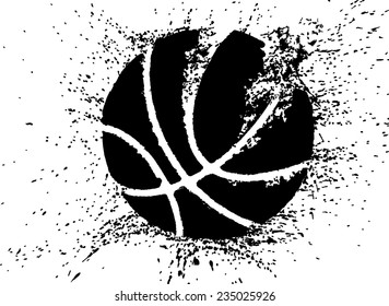 Silhouette of a basketball shattering.