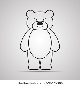 Silhouette Bear flat icon, simple vector design with shadow. Cartoon happy teddy-bear with smile. Standing toy for children coloring book