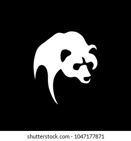 Silhouette of a bear on a black background. Stencil of a bear. Flat design, vector.