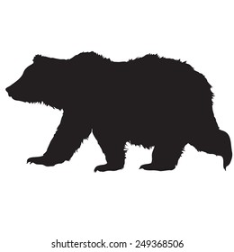 silhouette bear on a white background for your design
