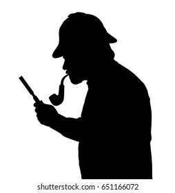 Silhouette of a bearded man investigating with a magnifying glass Sherlock hat and pipe