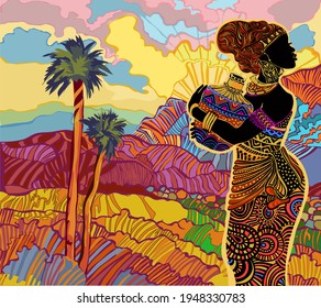 Silhouette of a beautiful African woman against the backdrop of a bright decorative southern landscape with mountains.