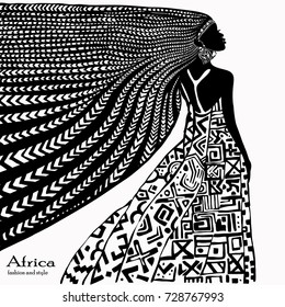 Silhouette of a beautiful african woman isolated on white background. Vector illustration.