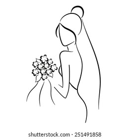Silhouette of beautiful bride in outline style with bouquet vector