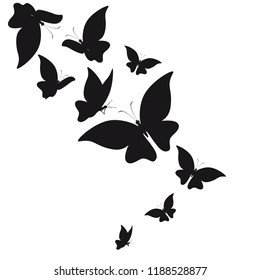 silhouette, beautiful butterflies. isolated on a white.
