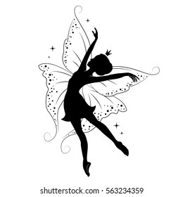 Silhouette of beautiful fairy. She is dancing. Hand drawn, isolated on white background.