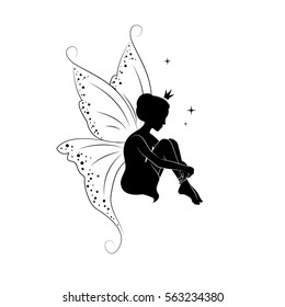 Silhouette of beautiful fairy. She is daydreaming.  Hand drawn, isolated on white background.