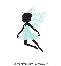 Silhouette of beautiful fairy. She is flying and she is in a blue gentle, air dress. Hand drawn, isolated on white background.