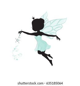 Silhouette of beautiful fairy. She has a magic wand in her hand.She is in a blue gentle, air dress. Hand drawn, isolated on white background.