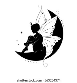 Silhouette of beautiful fairy. She is sitting on the moon and daydreaming. Hand drawn, isolated on white background.