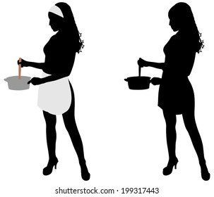 Silhouette of beautiful girl cooking, vector