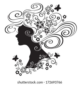 Silhouette of a beautiful girl with flowers in hair isolated on white background. Vector Illustration