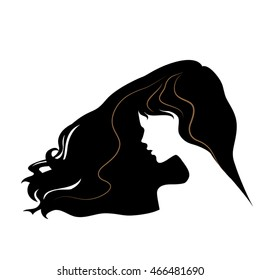 silhouette of a beautiful girl with flying long hair. vector illustration. part of collection. good for your design