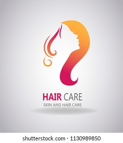 Silhouette of a beautiful girl with long hair. The good choice for Logo, emblem, lable of spa or beauty salon.