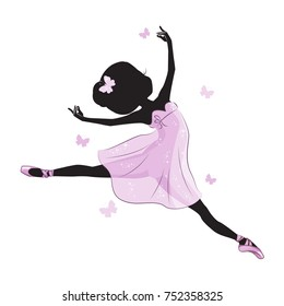Silhouette of beautiful little princess. Silhouette of cute little ballerina in pink dress isolated on white background.