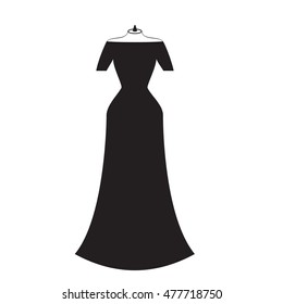 silhouette of a beautiful long black dress with open shoulders,Vector illustration,