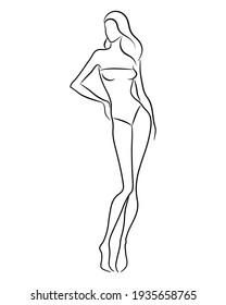 Silhouette of a beautiful nude woman, vector illustration. Female body line art. Fashion model posing. Beauty logo design element.