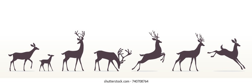 Silhouette of beautiful stylized cartoon deers on white background. Vector illustration