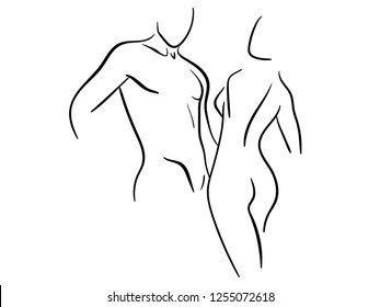 Silhouette of a beautiful stylized women and men. Stylized slender body. Linear Art. Black and white vector illustration. Contour of a slender figure. Vector illustration on white background. EPS 10