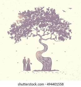 silhouette of beautiful tree and loving couple at sunset. vector illustration