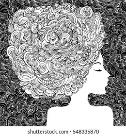 Silhouette of a beautiful woman with curly hair. Monochrome abstract ornamental fashion illustration. Hand drawing doodle vector picture.