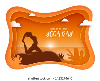 Silhouette of a beautiful woman doing yoga for International Yoga Day poster or banner design in paper cut style.