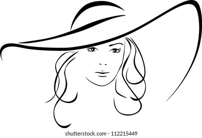 Silhouette of beautiful woman in a elegant hat. Vector