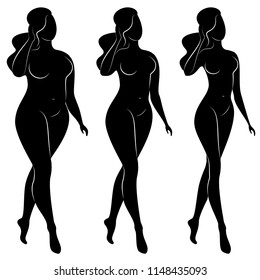 Silhouette of a beautiful woman figure. Vector collection.The girl is overwaight, slender and slim. The lady is standing.