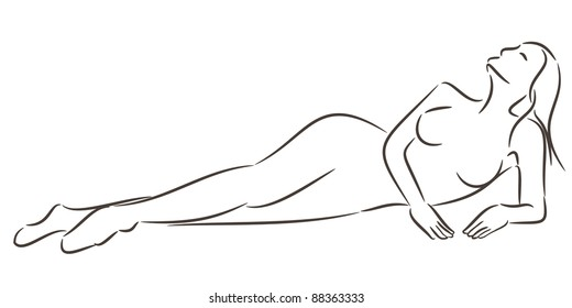 Silhouette of a beautiful woman laying down