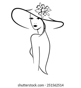 Silhouette of beautiful woman in outline style in hat vector