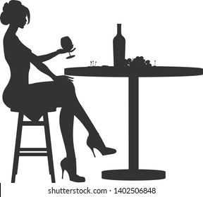 Silhouette of Beautiful woman in a restaurant. Silhouette of Lady holding wineglass. cartoon vector illustration on white background. Businesswoman seating drinking wine. Vector stock illustration.