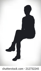 silhouette of a beautiful woman sitting formally