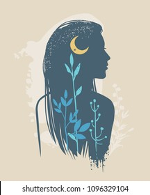 Silhouette of beautiful young woman with moon and wild herbs. Vector illustration