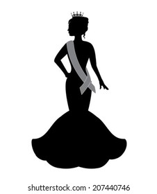 silhouette of a beauty queen wearing a crown and an evening dress
