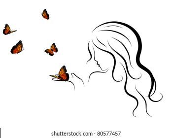 Silhouette of beauty woman blowing to butterflies