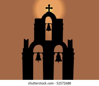 Silhouette of a bell tower against the orange sky