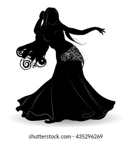 Silhouette of belly dancer in motion
