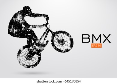 Silhouette of a bicycle rider. Background and text on a separate layer, color can be changed in one click. Vector illustration