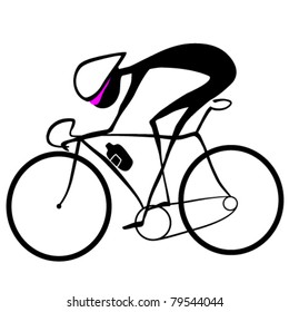 Silhouette of a bicycler is on a white background