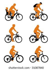 Silhouette bicycles. Vector - illustration in two colors.