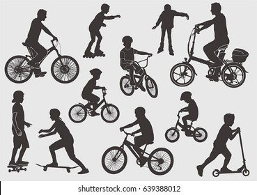 Silhouette of a bicyclist. Girls on the rollers. A boy on a skateboard. The boy on the scooter