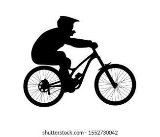 Silhouette of bicyclist riding downhill mountain bike. Black and white vector illustration isolated on white background