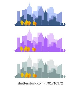 Silhouette of a big city on a white background set, skyscrapers, building, business centers. Panorama of the city on the horizon, sunset, urban design vector illustration.