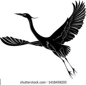 Silhouette of a big flying bird. Great blue heron. Vector